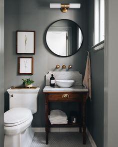 Dark Gray Bathroom, Serene Bathroom, Bathroom Kids, Grey Bathrooms, Bathroom Small, Master Bathroom, Downstairs Bathroom, Kids Bath, Washroom