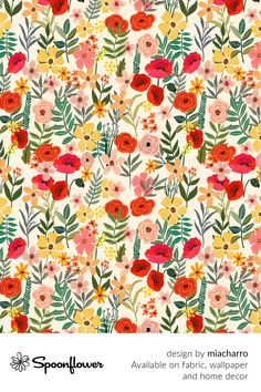 Customize your own home decor, #wallpaper and #fabric at Spoonflower. Shop your favorite indie designs on #fabric, #wallpaper and home decor products on Spoonflower, all printed with #eco-friendly inks and handmade in the United States. #patterndesign #textildesign #pattern #digitalprinting #homedecor #flowers #ivory #natural Fabric Design, Pattern Design, Colorful Roses, Fabric Wallpaper, Floral Designs, Watercolor Flowers, Custom Fabric, Spoonflower, Diy Wedding