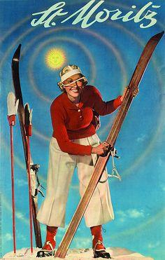 vintage ski poster. Skifahrerin in St.Moritz, Walter Herdeg, 1936