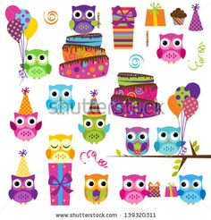 Party Owls Clipart Clip Art, Birthday Owls Clipart Clip Art - Commercial and Personal via Etsy Owl Birthday Parties, Art Birthday, Birthday Board, Happy Birthday, Owl Clip Art, Owl Classroom, Owl Vector, Clip Art Pictures, Owl Pictures