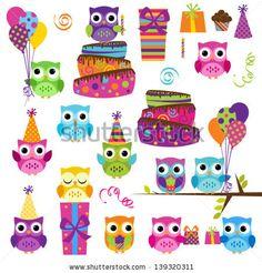 Conjunto de vectores de fiesta de  cumpleaños con tema de Búho