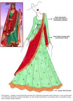 DIY Green Georgette Floor Length Anarkali Suit