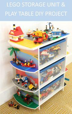 DIY Upcycled toy storage unit and LEGO play table Step-by-step DIY upcycled toy storage shelving unit and play table for LEGO, Duplo, Playmobil, Megablox and more! Diy Storage Unit, Playroom Storage, Lego Storage, Diy Kitchen Storage, Storage Shelves, Storage Ideas, Lego Shelves, Shelving, Kids Storage