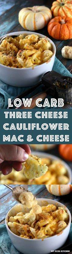 My PCOS Kitchen - Low Carb Three Cheese Cauliflower Mac & Cheese - You don't need any pasta with this delicious and creamy cauliflower! A homemade cheese sauce that is completely gluten-free and starch-free! #lowcarb #keto #lchf #cauliflower #macandcheese via @mypcoskitchen