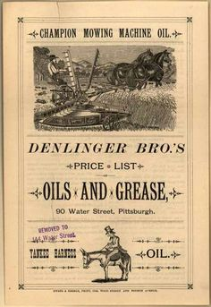 Denlinger Bros.'s Champion Mowing Machine Oil – Price List: Oils and Grease