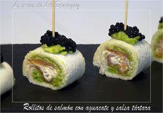 La cocina de Loli Domínguez: Rollitos de salmón con aguacate y salsa tártara