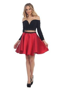 03af8816442 LF 6066 - Homecoming Long-Sleeve Off Shoulder Plunge Two-Piece with Satin  Skirt