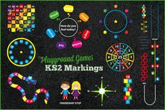 patio de papas Playground Games Key Stage 2 Markings by PlaygroundMarkings on DeviantArt Preschool Playground, Playground Games, Playground Flooring, Playground Design, Outdoor Playground, School Hallways, School Murals, Games For Kids, Diy For Kids