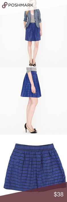 """JCREW Blue Stripe Taffeta Silk & Cotton Mini Skirt Excellent condition! This blue stripe taffeta mini skirt from JCREW is in excellent condition. Features a pleated style, zipper closure and is fully lined. Made of a silk and cotton blend. Measures: waist: 27"""", hips: 40"""", total length: 17"""" J. Crew Skirts Mini"""