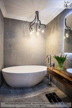 Realizacja łazienki z wanną wolno-stojącą i betonem - Atelier Lillet, Projektowanie wnętrz Szczecin Smart Home, Interior Design Inspiration, Modern Bathroom, Minimalism, Bathtub, House Design, Furniture, Home Decor, Bedroom Ideas