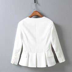 Aliexpress.com: Comprar 2016 otoño nueva moda para mujer blancas Blazers elegante de manga larga volver Peplum Blazer y chaquetas jaqueta feminina de moda cuchara fiable proveedores en Bella mall