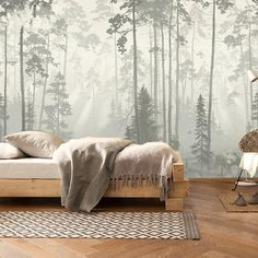 Grey Floral Wallpaper, Wallpaper Wall, Scenic Wallpaper, Bedroom Wall, Girls Bedroom, Bedroom Sets, Forest Mural, Tree Wall Murals, Open Wall