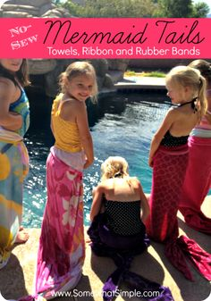 No-sew mermaid tails made from towels, ribbon and rubbers bands. Perfect for a mermaid birthday party or just a fun idea for your little girl!