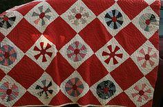 "Vintage Hand Sewn Red Cutter Quilt Measuring 62"" by 70"" | eBay, housewabbit"