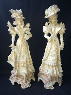 Antique bisque / porcelain. pair of very old lady's with old marks  #unknown