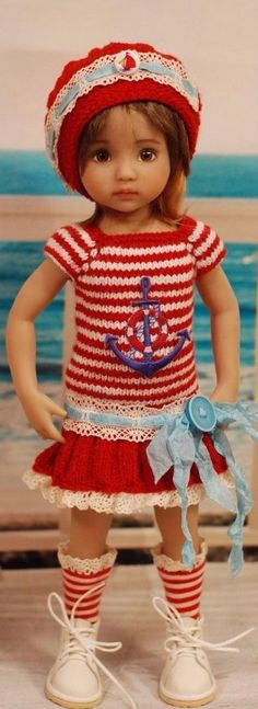 Effner Crochet Doll Clothes, Knitted Dolls, Doll Clothes Patterns, Clothing Patterns, Diana, Girl Dolls, Baby Dolls, Dolly Fashion, American Girl Clothes