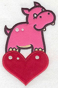 Hippo on heart appliques | Applique Machine Embroidery Design or Pattern