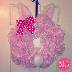 Cute Easter bunny deco mesh wreath