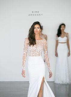 Illusion bodice Rime Arodaky wedding dress: http://www.stylemepretty.com/2016/10/16/rime-arodaky-fall-2017-wedding-dresses/ Photography: Greg Finck - http://www.gregfinck.com/