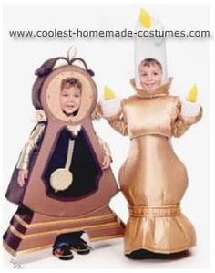 Beauty and the Beast Costumes: I used little figurines as my models to make Cogsworth and Lumiere from Beauty and the Beast Costumes.  The main trick is to use fabric fusing to iron