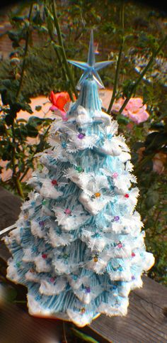 """14 1/2"""" Ceramic Christmas Tree Lighted, Like Grandma/Mom's with a Frozen Twiset"""
