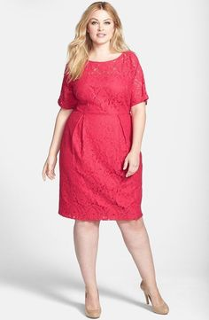 Good church dress for my summer weddings - Adrianna Papell Lace Sheath Dress (Plus Size) available at Dress Plus Size, Plus Size Girls, Wedding Dresses Plus Size, Plus Size Women, Xl Mode, Mode Plus, Curvy Fashion, Plus Size Fashion, Modest Fashion