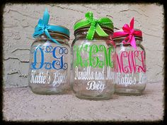 Monogrammed mason jars for drinking sweet tea at your next meeting or event! Cute idea for sorority stuff.