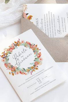 This beautiful autumn Wedding Stationery Suite collection is a Printable Template Include Invitation, Menu, Details Card, RSVP Card and Thank You Card In PSD and PDF files. A Colorful Floral design featuring lovely flowers and leaves in Blush Pink, peach, Orange and turquoise and perfect for outdoor fall wedding colors. Those printable invitations are a great idea for a budget friendly wedding and are fully customizable so you can edit and personalized as you wish. Floral Wedding Stationery, Letterpress Wedding Invitations, Simple Wedding Invitations, Printable Wedding Invitations, Elegant Invitations, Wedding Invitation Design, Invitation Suite, Fall Wedding Decorations, Fall Wedding Colors
