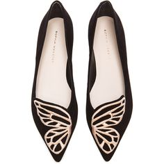 Sophia Webster Bibi Butterfly Suede Flats (340 CHF) ❤ liked on Polyvore featuring shoes, flats, sapatos, black, обувь, embroidered flat shoes, metallic flats, metallic flat shoes, metallic shoes and black shoes
