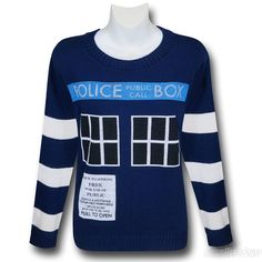 Images of Doctor Who Women's Boyfriend Tardis Sweater