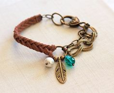 Mocha Suede Feather Bracelet, Braided Faux Suede Bracelet, Feather Charm, Charm Bracelet, Friendship Jewelry, Brass Metal Chain, Arm Candy