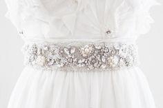 MIRANDA - Rhinestone and Pearl Beaded Bridal Belt, Wedding Sash. $225.00, via Etsy.