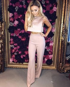 Cute pink high waisted trousers with cropped top. #womenswear #womensfashion