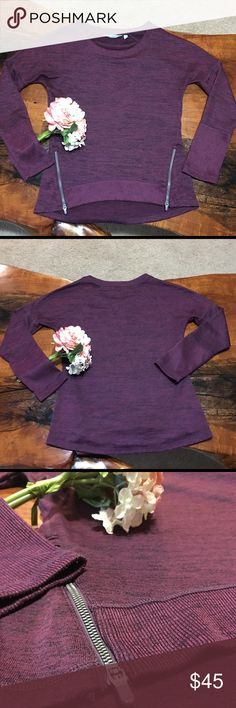 "🌟ATHLETA🌟 In GOOD CONDITION NO STAINS NO HOLES! Soft and breathable sweater with side zips. Material is polyester/spandex. Measures 19"" across the chest, 27"" from top of shoulder to cuff and 26.5"" from back of collar to hem. Athleta Sweaters"