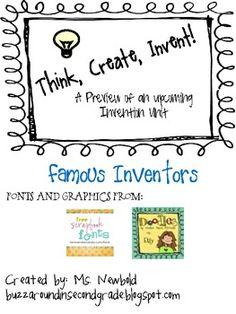 This is a freebie from my first upcoming unit! I will use this in my classroom to introduce our invention unit. In this you will find: *A worksh. Third Grade Science, Fourth Grade, First Grade Books, Primary Classroom, Classroom Ideas, Genius Hour, Summer Science, Teaching Social Studies, Scientific Method