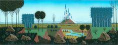 Eyvind Earle, concept art of castle in <I>Sleeping Beauty</I>, ca. 1950, courtesy Walt Disney Family Foundation; © Disney