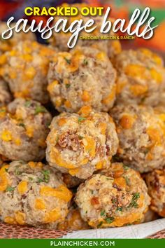 Crack Sausage Balls - cream cheese sausage balls loaded with cheddar, bacon, and ranch. Seriously the BEST sausage balls you'll ever eat! Sausage, Bisquick, Ranch mix, cheddar cheese, bacon, and cream cheese. Can make in advance and freeze unbaked for a quick snack later. These are great for tailgating and parties! #sausageballs #bacon #ranch #freezermeal #tailgating #partyfood Bacon Appetizers, Finger Food Appetizers, Appetizer Recipes, Finger Foods, Appetizer Dips, Dip Recipes, Pork Recipes, Easy Recipes, Keto Recipes