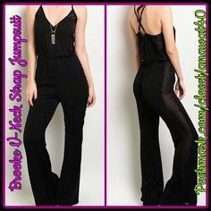 "HP Brooke V-Neck Strap Jumpsuit Brook V-Neck Strap Jumpsuit full length throw a vintage band tee underneath for day and let your skin shine through for night. Fabric Content: 100% Polyester/ Length : 58""/ Inseam 33"" Pants Jumpsuits & Rompers"