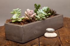 "From Auré Aura: Concrete Planter - 13"" Graphite This refined concrete planter is handmade and offers a warm signature look throughout."