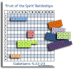 "FREE Printables with a variety of Bible games (Bible Map Bingo, Fruit of the Spirit ""Battleship,"" Books of the Bible bingo, Biblical Timeline flashcards. These are GREAT!"