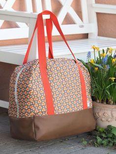 große Tasche aus Kunstleder und Baumwolle Schnitt: Reisetasche aus der Taschenspieler 3 CD