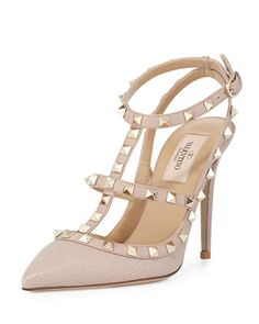 Rockstud+Leather+100mm+Pump,+Powder+(Poudre)+by+Valentino+at+Bergdorf+Goodman.