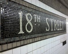 NYC subway tile -- I always loved the mosaics and tilework in the NYC subway stations. New York Subway, Nyc Subway, Subway Art, Subway Tile, Subway Signs, Go Transit, Home Nyc, Fulton Street, S Bahn