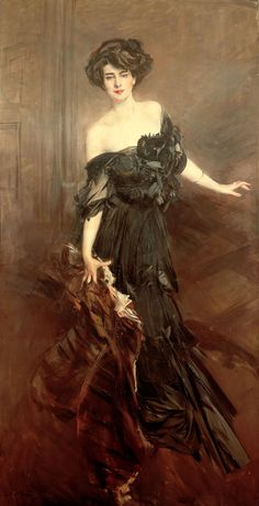 Giovanni Boldini: title unknown [portrait of a lady in black formal dress], Oil on canvas.