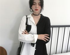 SALE Korean Chic Style Black White Contrast Color Tops Female Harajuku Fashion Long Sleeve Vintage Shirts Collar OL Ladies Blouse #shirt #tshirt