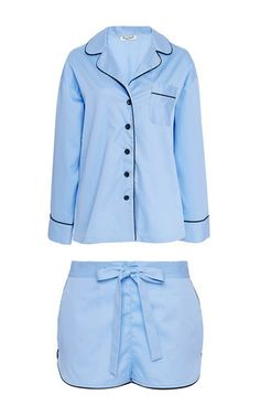 Blue Piped Cotton Pajama Set  by SLEEPER Now Available on Moda Operandi