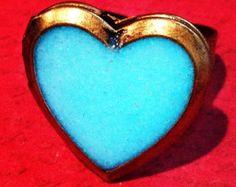 Aqua Blue Glow In The Dark Brass Heart Locket Ring Makes a Great Valentine's Day Steampunk Geek Girl Gift