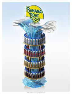 POP display for Banana Boat. Amalia; curioso diseño de PLV de Banana Boat, se trata de un resfresco refrescante, perfecto para el verano