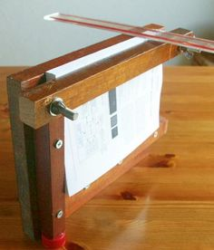 DIY Book binding press; measuring spine thickness