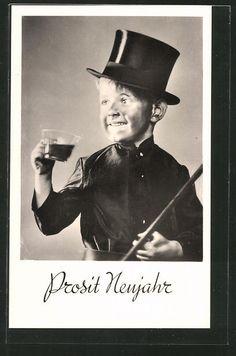 alte Foto-AK Prosit Neujahr, kleiner Schornsteinfeger mit schwarzem Gesicht in Sammeln & Seltenes, Ansichtskarten, Motive | eBay